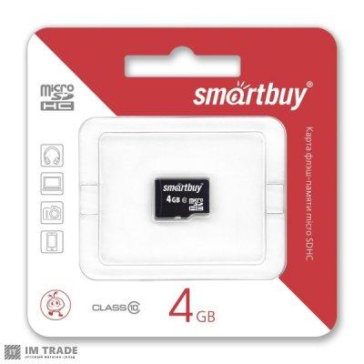 Карта памяти  4 Gb microSDHC, Smartbuy, Class4