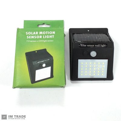 Светильник уличн свет ( 30 SMD), solar, датчик движ, дачт света