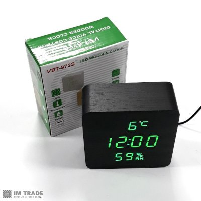 Часы 872S-4 зел (дата, с датч. темпер. и влаж)