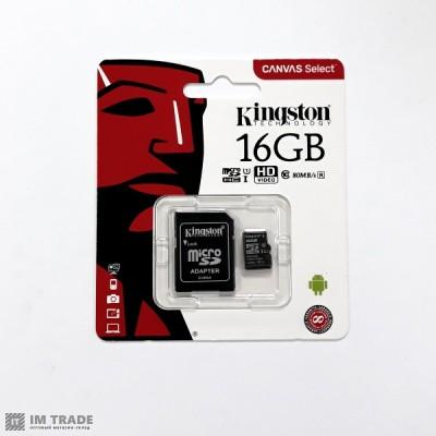 Карта памяти 16 Gb microSDHC, Kingston Canvas Select (R-80Mb/s)