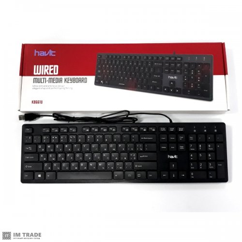 Клавиатура HAVIT HV-KB661U, USB, (c USB-хабом 2 ПОРТА)