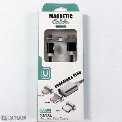 Кабель USB / micro USB магнитный 2в1 Micro/iPhone5/6 1м ТКАНЬ