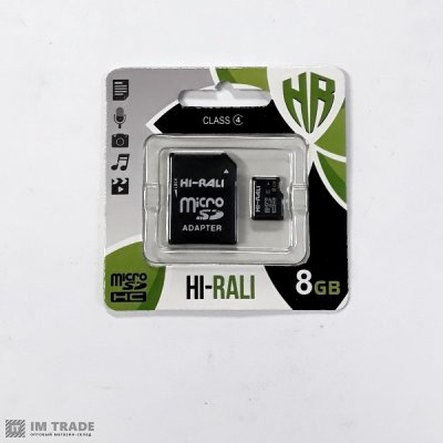 Карта памяти  8 Gb microSDHC, HI-RALI, Class 10