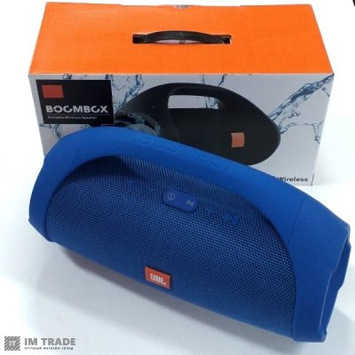 порт. колонка Bluetooth  JBL BOOMBOX (31 см  диам 11 см)   blue + power bank