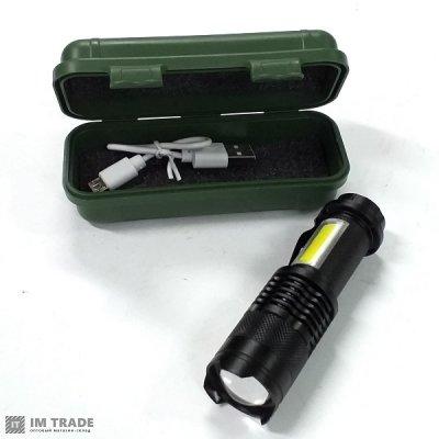 фонарик BL-1812C-XPE+COB ЗУ USB zoom 3реж