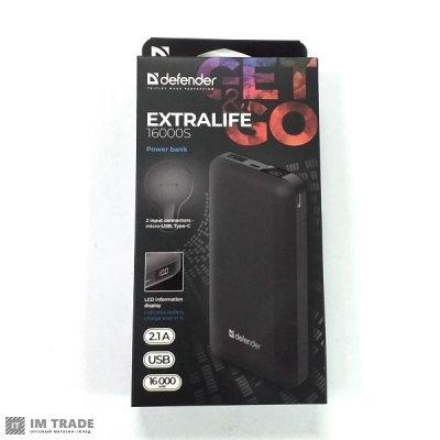Банк заряда Defender Extra Life 16000mAh 1USB + Type-C (2.1A) дисплей