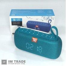 порт. колонка Bluetooth T&G TG177 powerBank, часы, бирюзовый
