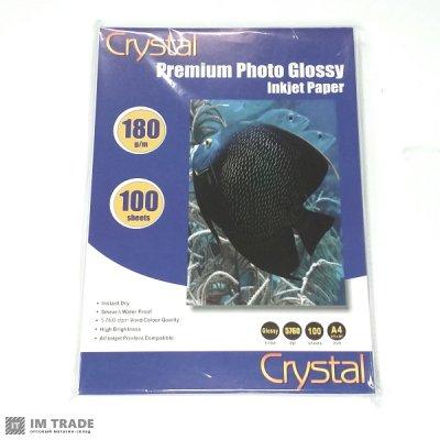 Фотобумага Crystal, глянцевая, A4, 180 г/м?, 100 л
