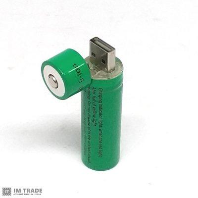 Аккумулятор BLD 18650 3800mAh 3,7V/1sh green с USB зарядкой