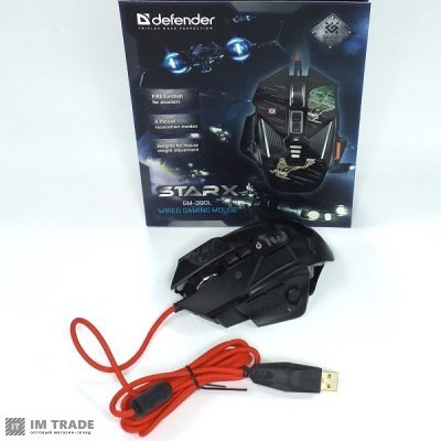 Миша Defender sTarx GM-390L8кн. 3200dpi игровая, грузики