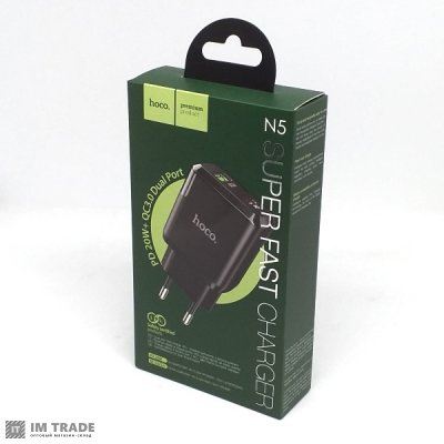 Переходник USB/220 Hoco N5 PD 20W+QC3.0  (1USB/Type-c/3A) black